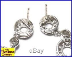 1.25 CT TW 14K White Gold Genuine Diamond Drop Circle Earrings & Necklace Set EX