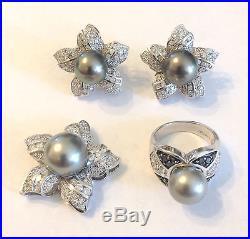 1.50ct Diamond & Black Tahitian Pearl set Pendant Earrings Ring 14K White Gold