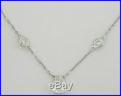 1.64 ct 14K White Gold Pear & Round Diamond Bezel Set Necklace GIA Rtl $7,000