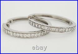 1 ct 14k White Gold Round Cut Diamond Channel Bead Set Hoop Earrings 7.9Gm 1.13