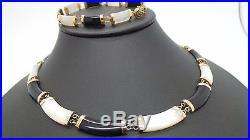 10K YG SET OF BLACK ONYX & MOTHER OF PEARL NECKLACE & BRACELET B29065-3 28.92gr