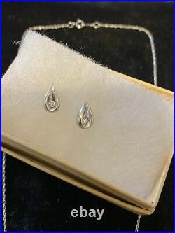 10k White Gold Tear Drop With Diamond Necklace And Earring Set From Jarreds