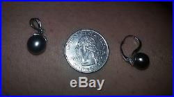 10k black tahitian pearl white gold pendant and earring set (preowned)