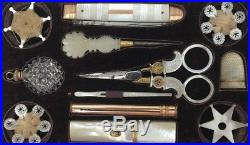 12 Pcs Rarest Antique 18th C Georgian Gold Mother Of Pearl Sewing Kit Set w Tray