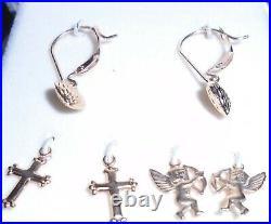 14 Kt Gold Drop Earrings Wardrobe Heart, Cross, Cupid Angel Interchangable Sets