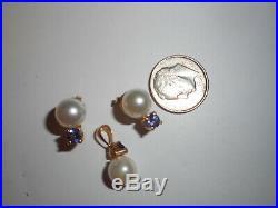 14K Gold 8mm Akoya Sea Pearl 3/4CTW Tanzanite EARRINGS & PENDANT SET MINT Unused