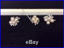 14K Gold Pearl/Diamond Ring And Earrings Set