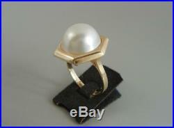 14K Gold Ring Mabe Pearl Size 7 1/4 Hexagonal Setting 5.1 Grams