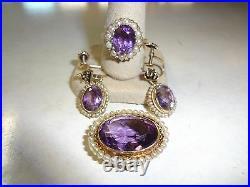 14K KT Gold Amethyst & Pearl Ring Brooch Pendant Earring Ear Clips Set NICE