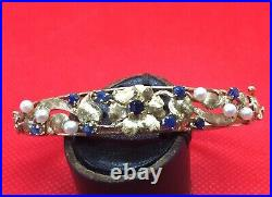 14K Solid Gold Hinged Bangle Bracelet Set with Sapphires and Pearls Floral Motif