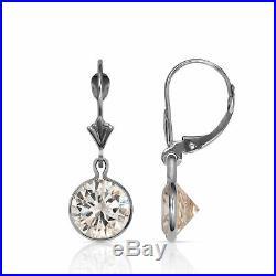 14K Solid Gold White Sapphire Round Bezel Set Leverback Drop Dangle Earrings