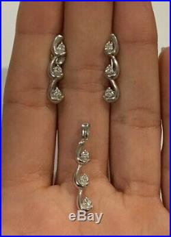 14K White Gold Diamond Swirl Drop Dangle Earrings Pendant Set