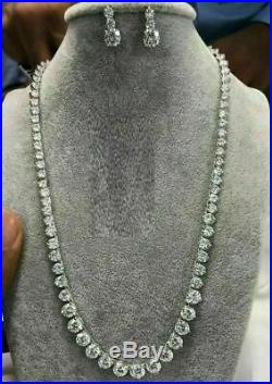 14K White Gold Finish 30Ct Round Cut VVS1 Diamond 18 Tennis Necklace & Drop Set