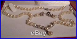 14K White Gold Pearl and Diamond Earring and Necklace Set