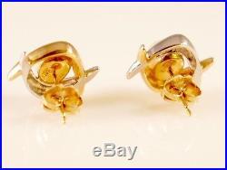 14K White & Yellow Gold Pearl Earrings & Necklace Pendant Set Albert David ADPG