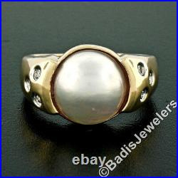 14K Yellow Gold 11mm Mabe Pearl Solitaire Ring with 6 Burnish Set Diamond Accents