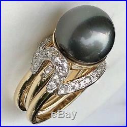 14K Yellow Gold 13.5mm HUGE Tahitian Dark Gray Pearl Diamond Ring 2-Piece Set