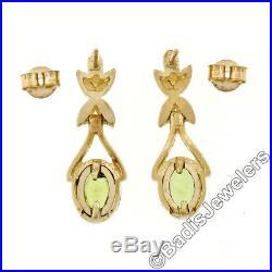 14K Yellow Gold 2.0ctw Oval Cut Bezel Set Peridot Open Drop Dangle Post Earrings