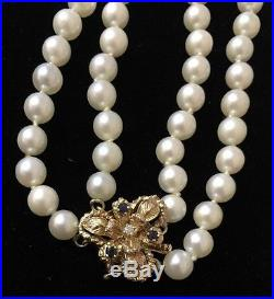 14K Yellow Gold 2 pc Pearl Double Strand Set with Diamonds and Sapphires
