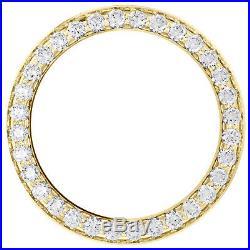14K Yellow Gold Bead Set Diamond Bezel For 26mm Rolex DateJust Watch 1.35 CT