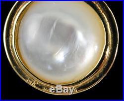 14K Yellow Gold Bezel Set Round Mabe Pearl Enhancer Pendant