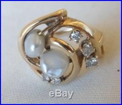 14K Yellow Gold Keshi Pearl Diamond Ring Earring Set 5.9 grms, Size 4.25