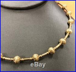 14K Yellow Gold Ladies Necklace & Bracelet Set Bead Style 37.5 Grams