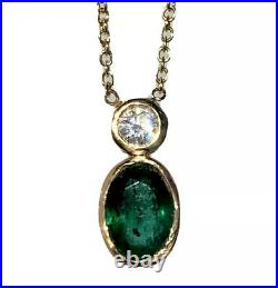 14K Yellow Gold Oval Emerald Brilliant Diamond Bezel-Set Pendant Chain Necklace
