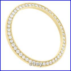 14K Yellow Gold Rolex DateJust 36 Bead Set Diamond Bezel Fits 36mm Watch 1.50 CT