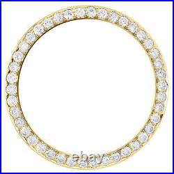 14K Yellow Gold Rolex DateJust 36 Bead Set Diamond Bezel Fits 36mm Watch 2.10 CT