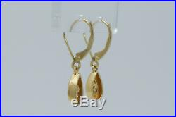 14K Yellow Gold Set of Water Drop 0.60 Ct Diamond Pendant Necklace with Earrings