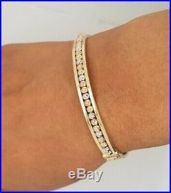 14K Yellow White Rose Gold 5.8 mm Bead Ball Bangle Bracelet Channel Set 8.7 g
