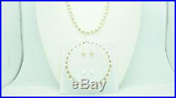 14kt Gold Ball & Japanese Cultured Pearl Necklace Bracelet & Earring Set S022
