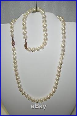 14KT YG Freshwater Cultured 6-7mm Pearl earrings Necklace 16 Bracelet 7.5 set