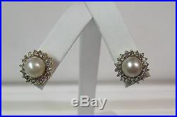 14KT Yellow Gold Pearl & Diamond Ring Pendant & Earring Set Wholesale R4626