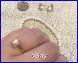 14k & 10k Freshwater Pearl Yellow Gold Ring Earrings Bracelet Set Lot-Vintage