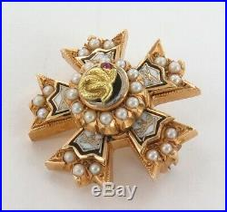 14k GOLD, SEED PEARL & ENAMELLED QUALITY HEAVY SET SMALL LODGE BROOCH