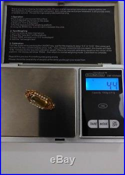 14k Gold Antique Vtg Bezel Set Golden Untreated Citrine & Seed Pearl Pin 4.4g