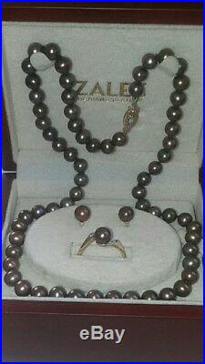 14k Gold Chocolate Cultured Pearl & Diamonds- Necklace, Ring & Earrings Set