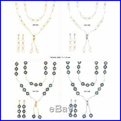 14k Gold Freshwater Cultured Pearl Station Necklace Earrings Bracelet Set