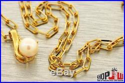 14k Gold Genuine Diamond Pearl Solitaire Pendant Chain Set Ladies Womens Jewelry