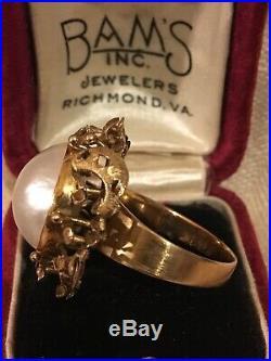 14k Gold Mabe Peal Ring & Earring Set. Beautiful! 21.7 Grams Not Scrap