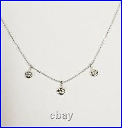 14k Italy White Gold 16 Bead Chain 3 Bezel Set Diamond Necklace 0.30 ctw J, I1