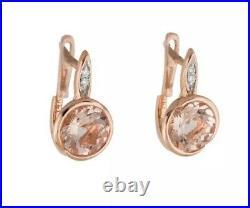14k Rose Gold 2.59 ct Morganite & Diamond Bezel-set Drop Earrings