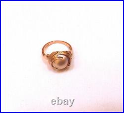 14k Rose Gold Bezel Set 10 mm Gray Mabe Pearl Ring Size 6 Stunning MUST SEE