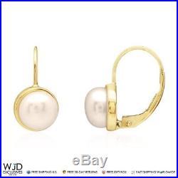 14k Solid Yellow Gold Freshwater Pearl Bezel Set Leverback Earrings
