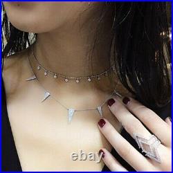14k White Gold 0.30ctw Diamond Bezel Set Multi Drop Adjustable Necklace Handmade