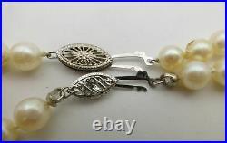 14k White Gold 2PC Set 6-6.5mm Cultured Pearl Beaded Strand Necklace Bracelet
