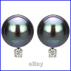 14k White Gold 9-10mm Black Tahitian Pearl & 1/11ctw Diamond Necklace Stud Set