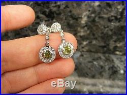 14k White Gold Bezel Set Peridot Quality Diamond Halo Flower Drop Dangle Earring
